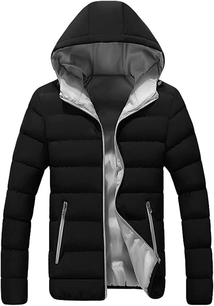 DIOMOR Mens Classic Hooded Puffer Jacket Zip Down Coat Direct store Pockets San Francisco Mall O