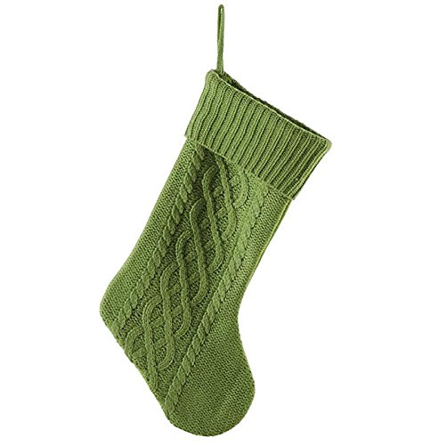 Green Cable Knit Sweater with Ribbed Cuff 20 inch Christmas Stocking Decoration