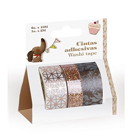 Pack de 3 Cintas Adhesivas washi Tape Color marrón