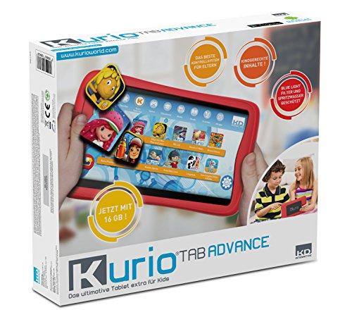 Kurio DECIIC17150 kindertablet met 7 inch multi-touch-monitor, 2 camera's, 16 GB geheugen, 1 GB RAM, Android OS, kindvriendelijk internetfilter en bumper beschermhoes, kindertab, 7 inch, ca. 17,7 cm.