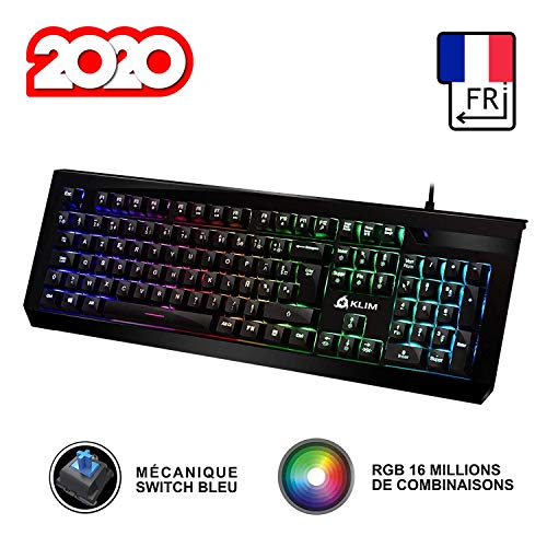 KLIM Domination - Französisch - Mechanische RGB-AZERTY -Tastatur - Blaue Tasten - Schneller, präziser, angenehmer Tastenanschlag - 5 Jahre Garantie - VOLLSTÄNDIGE FREIHEIT BEI DER FARBAUSWAHL PC PS4