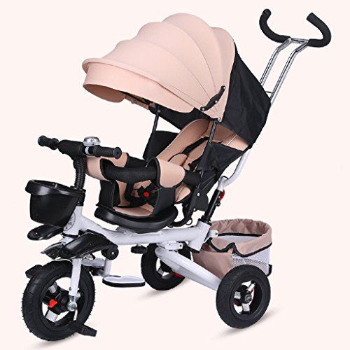Sitz drehbarer höhenverstellbarer Schiebegriff Kinder Dreirad, einfach mit Sonnenschirm Faltbarer Baby Trolley, Multifunktions Sitz oder Liege Kind Pedal Trike Fahrrad (Color : Khaki)