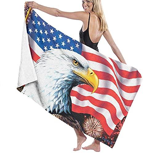 Toallas de baño suavidad,Águila de la Bandera americanaToallas de Playa Secado rápido Altas prestaciones,80 x 130cm