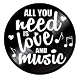 All You Need is Love and Music Quote on a Repurposed Vintage Vinyl Record Album Wall Artwork