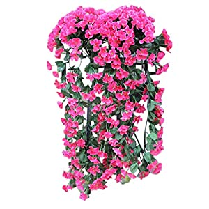 Youmymine Artificial Flowers Violet Flower Wall Wisteria Basket Silk Orchid Hanging Flowers Bouquet Wedding Home Decoration (Hot Pink)