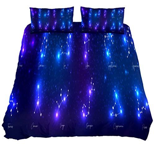 N\O Zodiac Sings-Bettwäsche-Set, atmungsaktiv, 3-teilig, Bettbezug-Sets (1 Bettbezug + 2 Kissenbezüge), Raumdekoration, ultraweiche Mikrofaser (nicht im Lieferumfang enthalten)