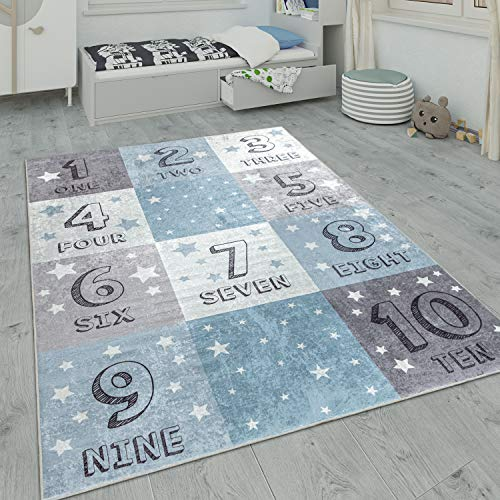 Paco Home Kinderteppich, Waschbarer Kinderzimmer Teppich m. Stern, Mond u. Karo Motiven, Grösse:140x200 cm, Farbe:Blau 2