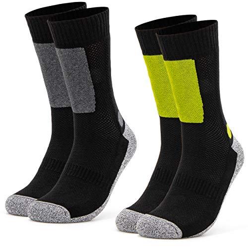 Occulto 2 Paar Herren Trekking Socken | Wandersocken | Outdoorsocken | Funktionssocken mit gepolsterter Sohle Größen (Oliv-Schwarz, 43-46)