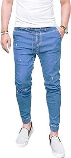Inlefen メンズスキニーパンツ弾性パンツファッションカジュアル弾性ウォッシャブル男性魅力的なペンシルパンツDrawstringジーンズスポーツズボン