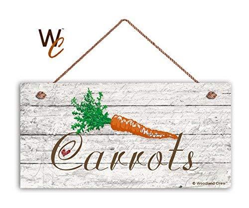 BridgetWhy50 Cartel de zanahorias para jardín, decoración rústica, madera envejecida, cartel de 5 x 10 pulgadas, señal de verduras, regalo para jardinero, hecho a