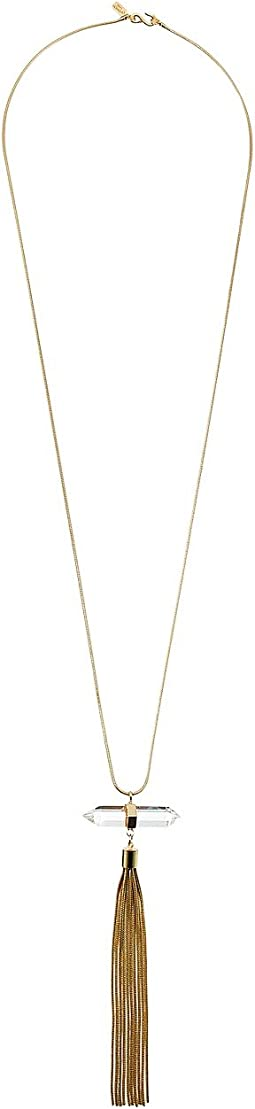 Polished Gold Chain with Crystal Tassel Necklace