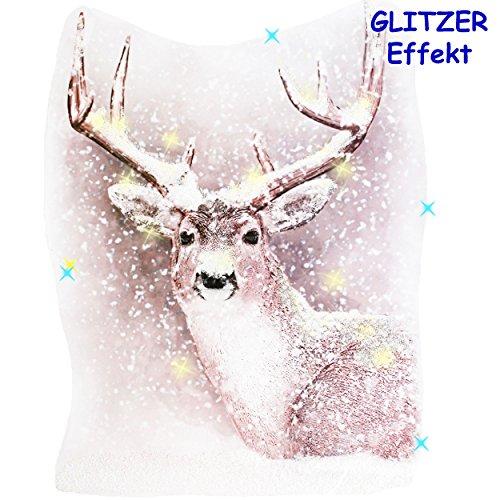 alles-meine.de GmbH 3-D Glitzer Effekt __ XL _ Fensterbild -  Hirsch im Winterwald - Schnee Glimmer  - statisch haftend - selbstklebend + wiederverwendbar / Weihnachten - Stick..