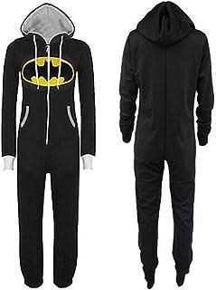 Pijamas de una Pieza Jumpsuit For Hombre Mujer Unisex Batman Superman Adulto Mono De Una Sola Pieza Onesie Pijamas Imprimir Capucha Y Cremallera Frontal Azul (Color : Black Bat, Size : XL)