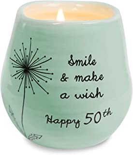 Pavilion Gift Company Smile & Make A Wish Happy 50th Birthday - 8 oz Soy Wax Candle with Lead Free Wick in A Green Ceramic Vessel 8 oz-100 Scent: Serenity, 3.5 Inch Tall