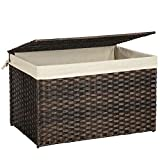 SONGMICS Storage Box with Cotton Liner, Rattan-Style Storage Basket, Storage Trunk with Lid and Handles, for Bedroom Closet Laundry Room, Brown URST76BR