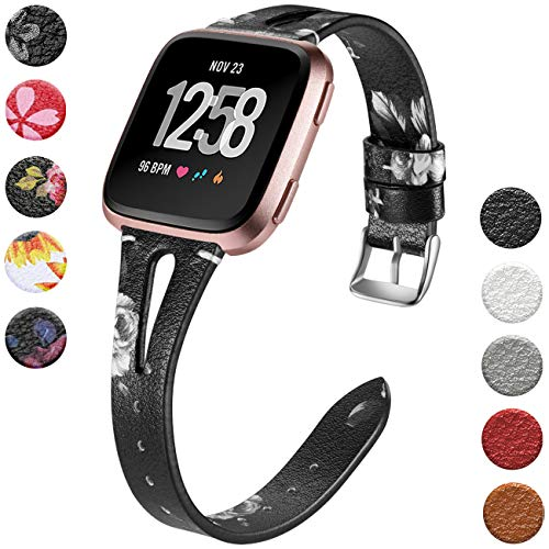 Wepro Leather Bands Compatible with Fitbit Versa/Versa 2/Versa Lite SE Watch for Women Men, Small, Slim Genuine Leather Wristbands Straps for Fitbit Versa & Versa Lite SE SmartWatch, Black/Gray Floral