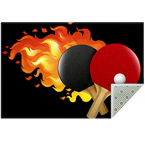 Bennigiry Flaming Table Tennis Set Area Rugs Rug Mat Carpet for Living Room Bedroom Playing Room Carpets,60'x39'