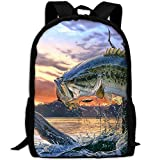 Bass Fish Jumping Unique Outdoor Shoulders Bag Fabric Backpack Multipurpose Daypacks For Adult