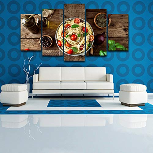 CNCN Modulare Home Decor Canvas Pictures 5 Pezzi Cucina Italiana Pasta Olive Garlic Paintings Cucina Stampe HD Poster Arte murale 30x40 30x6030x80cm