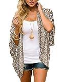 Women's Snakeskin Kimono Cover Ups Animal Print Tops Plus Size Shirts Summer Chiffon Beach Boho Sheer Cardigan XL