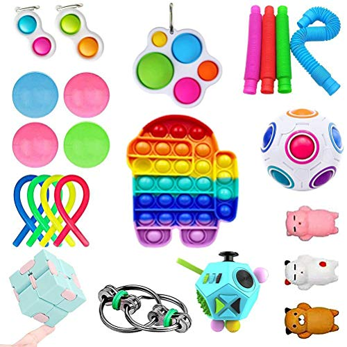 Desire Sky Fidget Toys Set Pack, 23Pcs Fidget Toys Cheap Fidget Toys Set Sensory Fidget Toys for Kids Adults, Simple Dimple Fidget Toys, Stress Relief and Anti-Anxiety Tools
