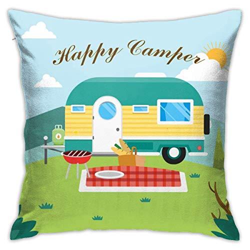 phjyjyeu Happy Camper - Fundas de almohada decorativas de 45,72 x 45,72 cm (18 x 18 pulgadas)