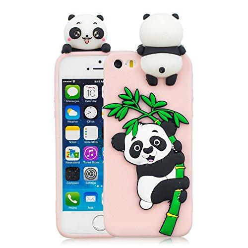 HopMore Compatible con Funda iPhone 5S / SE / 5 Silicona Dibujo 3D Divertidas TPU Gel Kawaii Ultrafina Slim Case Antigolpes Caso Protección Design Carcasas Gracioso para iPhone SE / 5S - Panda Rosa