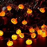 Halloween String Lights- 10Ft 20 Halloween Decoration Lights-2 Modes Steady/Flickering Lights-Spooky Halloween Lights for Dress up Your Home, Mantel, Porch, Garden or Yard, Outside entryway.…