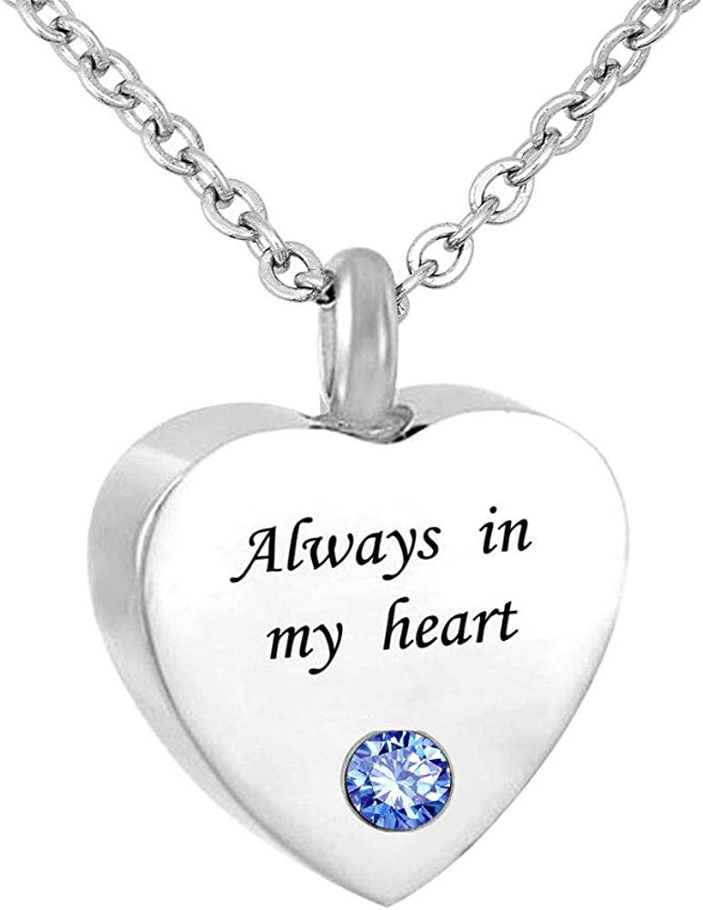 Q&Locket Heart Love Urn Necklaces for Ashes Always in My Heart Memorial Keepsake Cremation Jewelry