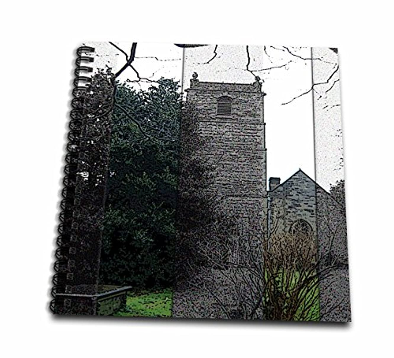 3dRose db_44656_1 Beautiful Old Church in Wales with a Graveyard on The Grounds Done in Black and White and Some Color-Drawing Book, 8 by 8-Inch