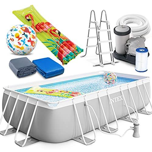 Intex Prism Frame Swimming Pool rechteckig 488 x 244 x 107 cm Komplett-Set mit Leiter & Pumpe 26792 sowie Extra-Zubehör wie: Luftmatratze und Strandball