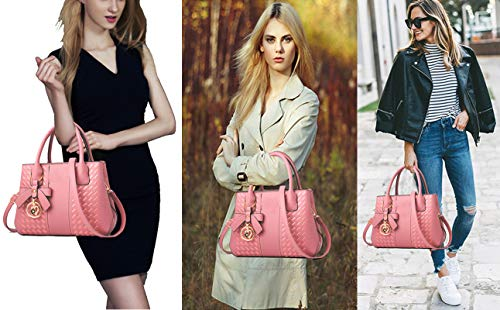 Handbags for Women Fashion Ladies Purses PU Leather Satchel Shoulder Tote Bags (Lightpink)