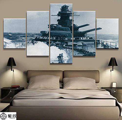 5 Panel Schlachtschiff Bismarck Naval Military Leinwand Gedruckt Malerei Für Wohnzimmer Wandkunst Wohnkultur Hd Bild Kunstwerk Poster(NO Frame size 2)