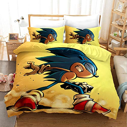 Jqchw Textiles for el hogar hoja de cama Sonic The Hedgehog animado...