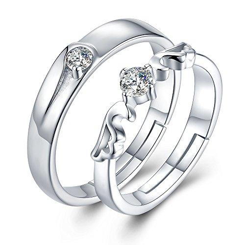 JUDYの秘密<愛の言葉>ペアリング 天使の羽 2個セット純銀製指輪 結婚指輪 婚約指輪 キュービック・ジルコニア フリーサイズ