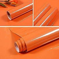 壁紙 40Cm幅の自己粘着性壁紙食器棚家具紙キッチンキャビネットウォールステッカー部屋の装飾フィルム-Orange_40Cm_X_10M