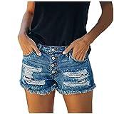 HUOJING Hole Jean Shorts for Women Fringe Skinny High Waist Denim Shorts Breasted Summer Casual Hot Pants,Dark Blue,2XL
