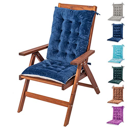 Rocking Chair Cushions and Pads, Adirondack Chair Cushion, Back and Seat Cushion for Outdoor, Patio chair, Office chair, Desk chair, Dining chairs, Kitchen chair, Lounge chair (Blue, Flannel 1)