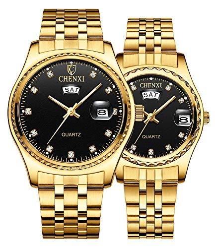 Couple Watches Dress Wrist Watch Golden Watch Men Women Stainless Steel...