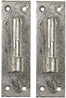 Merriway BH06857 Silver Tone Bulk Hardware Gate Hinge Brackets 16mm Pin Heavy Duty Wrought Iron Galvanised-Pack of 2, 2 Piece