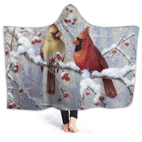 AEMAPE Winter Cardinal Birds - Manta con Capucha para Mujer, Manta de Franela súper Suave, Sudadera con Capucha, Bata con Capucha, Capa con Capucha para Ver televisión en el SPA, 60 'x 50'