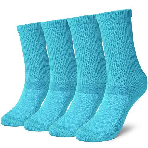 +MD Damen Socken Sportsocken, Anti-Schweiß, Bambussocken Tennissocken für Sport und Freizeit 4 Paar 39-42 Blue