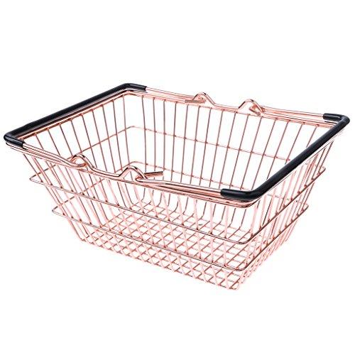 D DOLITY Mini Métal Panier D'achat de Supermarché Couffins, Jouet de Développement pour Enfants (1 pièce) - Or, M