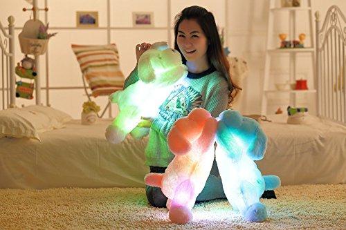 Woneart Kreative Nacht bunte LED-Licht Weich Spielzeug leuchtende Stuffed Hund/Hündchen/Haustier Plüschtiere Relax Kissen Puppen Geschenke (Pink)