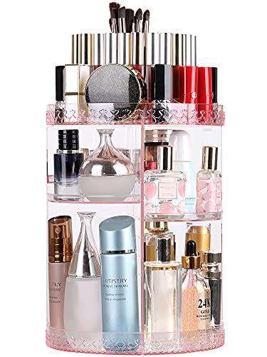 Syntus Rotating Makeup Organizer, 360 Adjustable Cosmetic Carousel Spinning Holder Rack, Large Capacity Makeup Storage Box Vanity Shelf Countertop for Bathroom, Lipsticks, Brushes, Pink