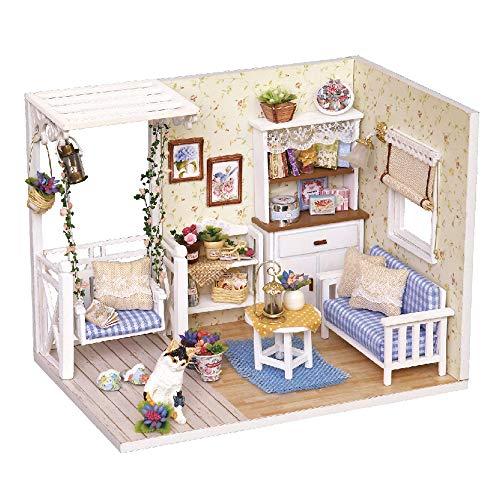 Decdeal Case delle Bambole,Fai da Te in Miniatura Casa delle Bambole Kit,Mini 3D Casa in Legno con Mobili Luci A LED Regalo di Compleanno di Natale (D