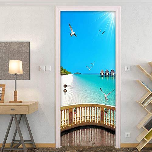 ZWLZJO Papel Pintado Puerta 3D Paisaje marino soleado de playa 88x200cm Door Sticker Puerta Pegatinas Wallpaper Sticker Autoadhesivo Vinilo Removable Art Door Decals para la Decoración Casera