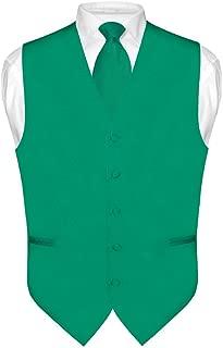 Men's Dress Vest & Necktie Solid Emerald Green Color Neck Tie Set for Suit Tux