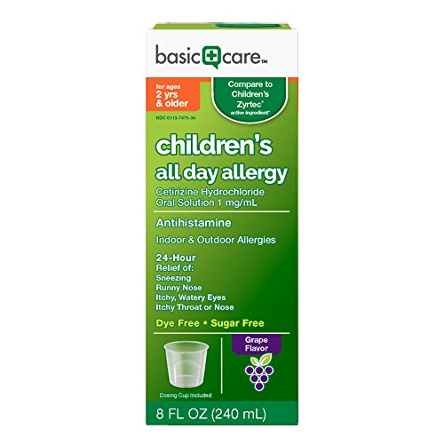 Basic Care Children's All Day Allergy, Cetirizine Hydrochloride Oral Solution 1 mg/mL, Grape Flavor, 8 Ounce