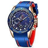 Lige Men's Watch Fashion Waterproof Silica Gel Chronograph Luxury Business Analog Quartz Watches Classic Blue Belt Date Calendar Watch